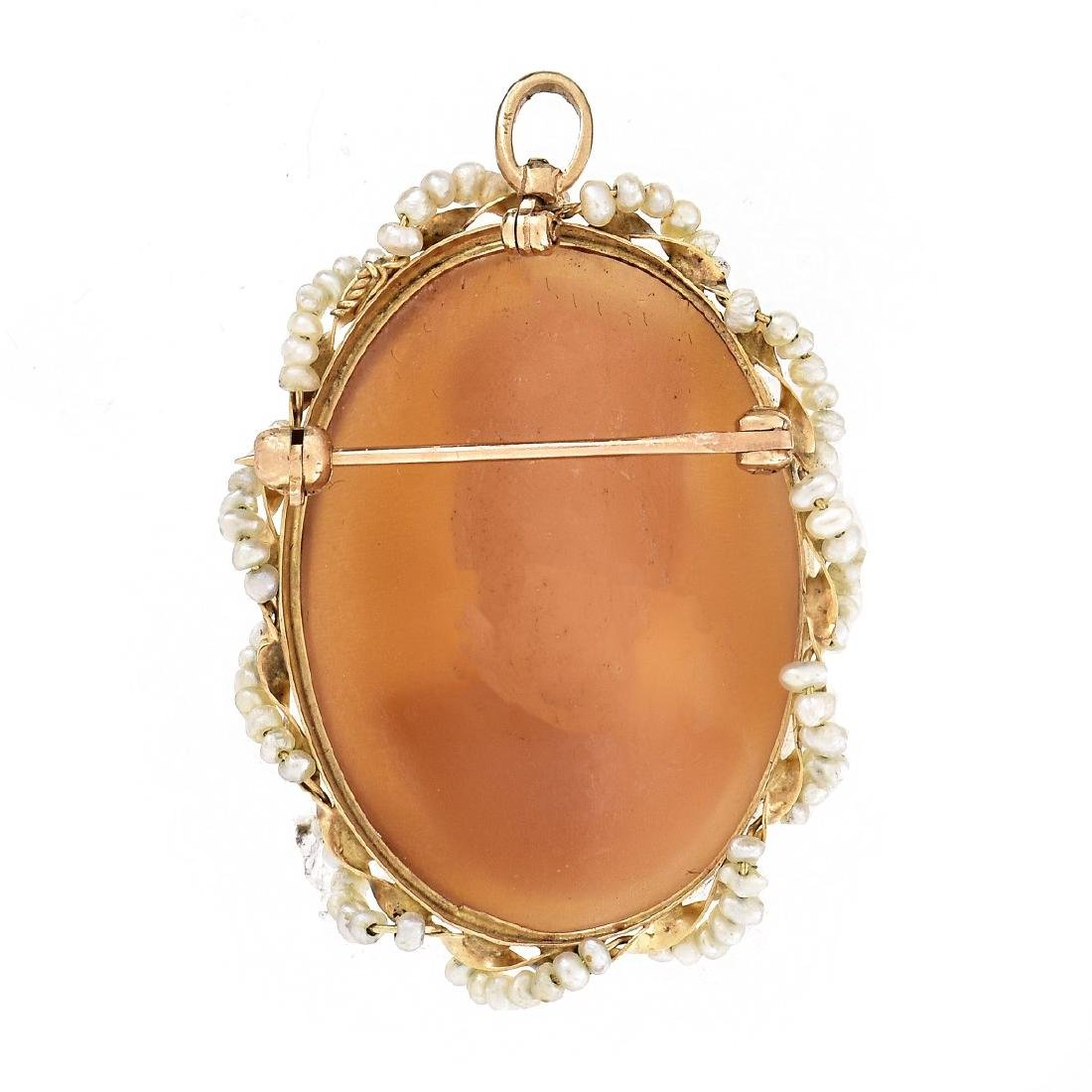 14K Gold and Seed Pearl Cameo Pendant Brooch - 3