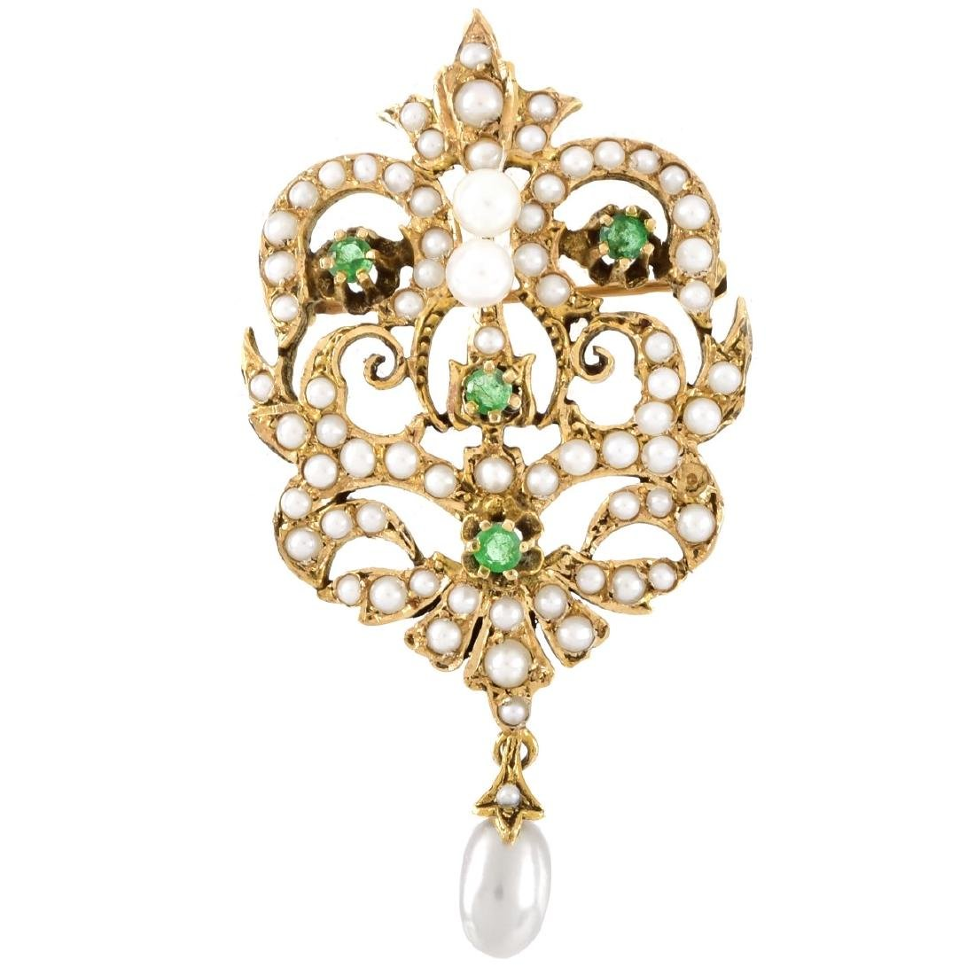 Vintage 14K Gold, Pearl and Emerald Brooch