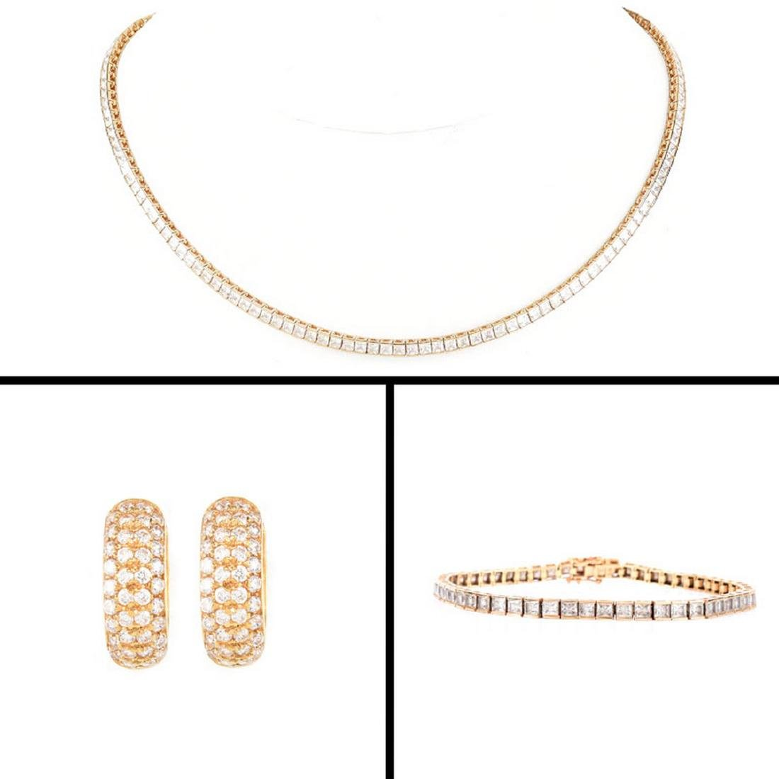 Contemporary 14K Gold and Cubic Zirconia Lot