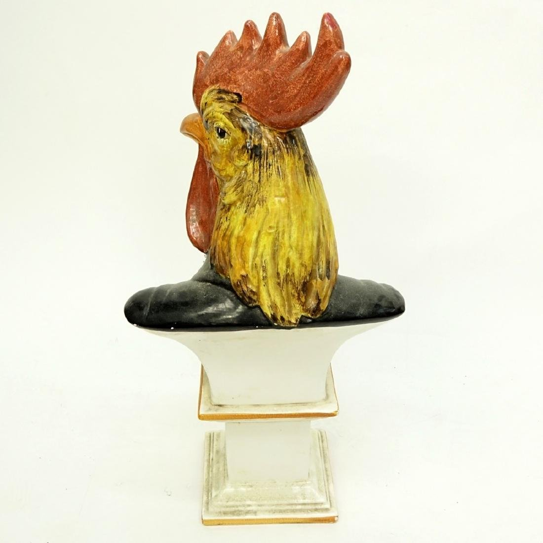 Large Italian Faience Pottery Bust of a Rooster - 4