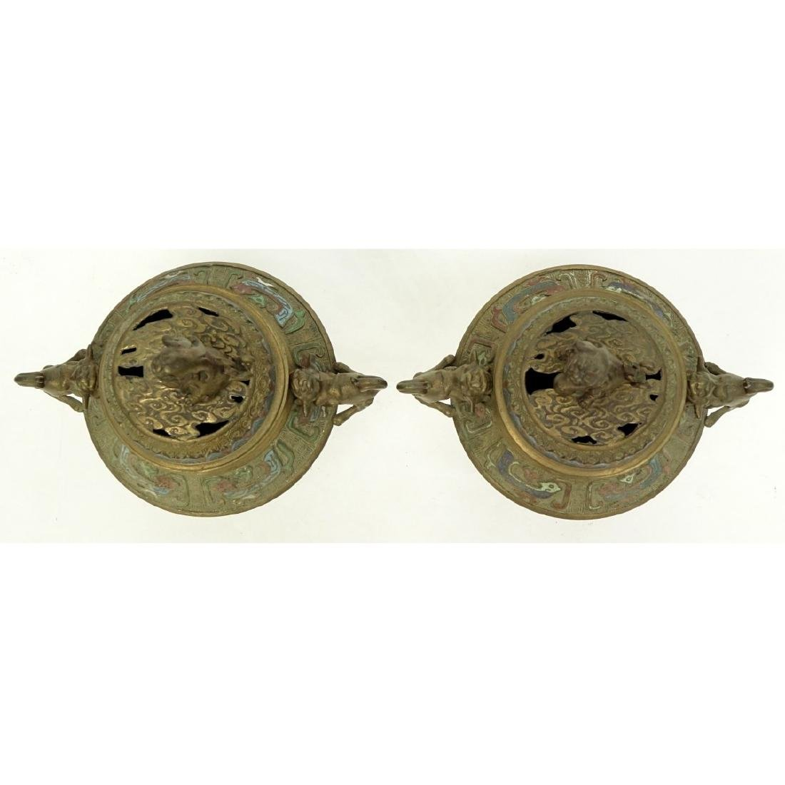 Pair of Japanese Bronze Enamel Incense Burners - 2