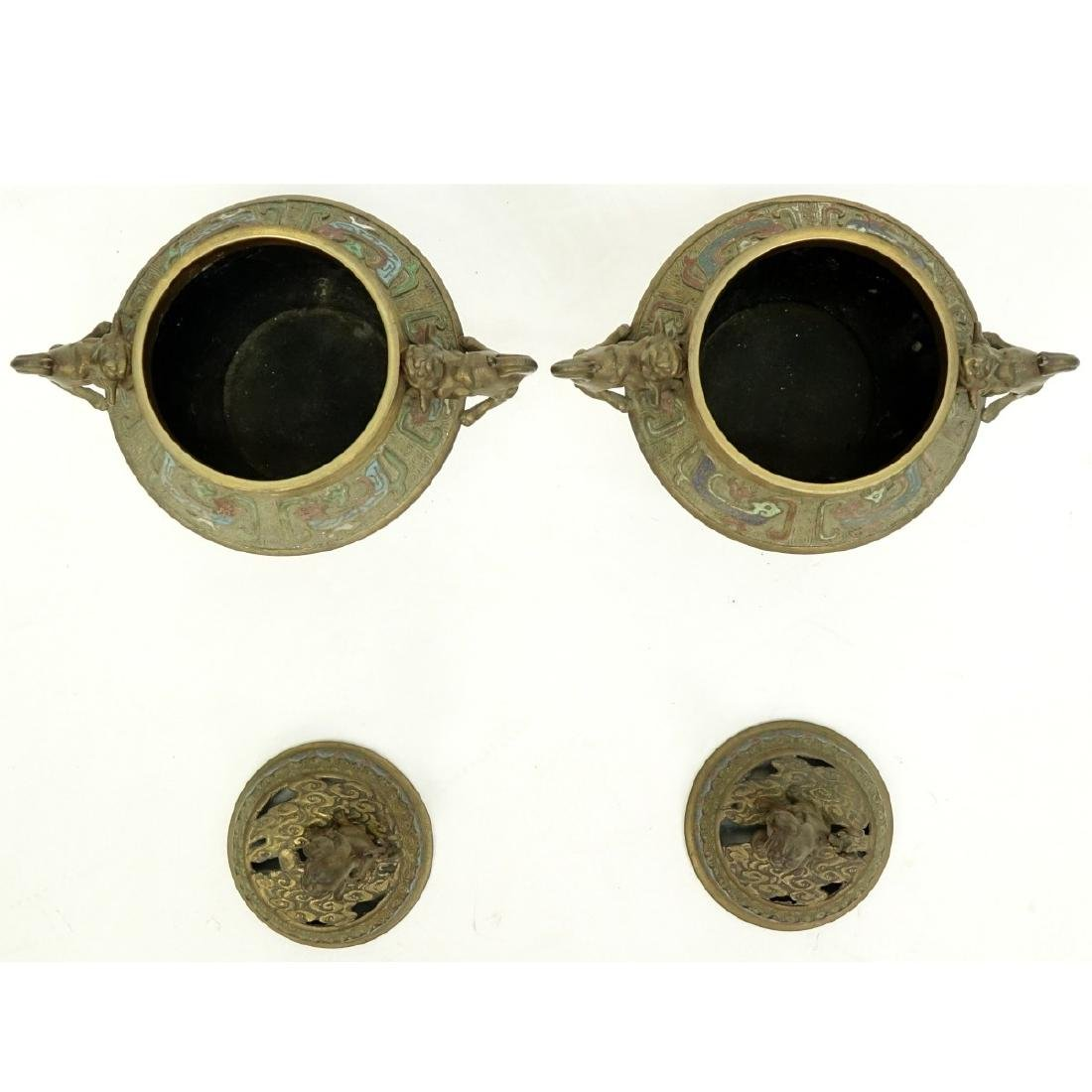 Pair of Japanese Bronze Enamel Incense Burners - 3