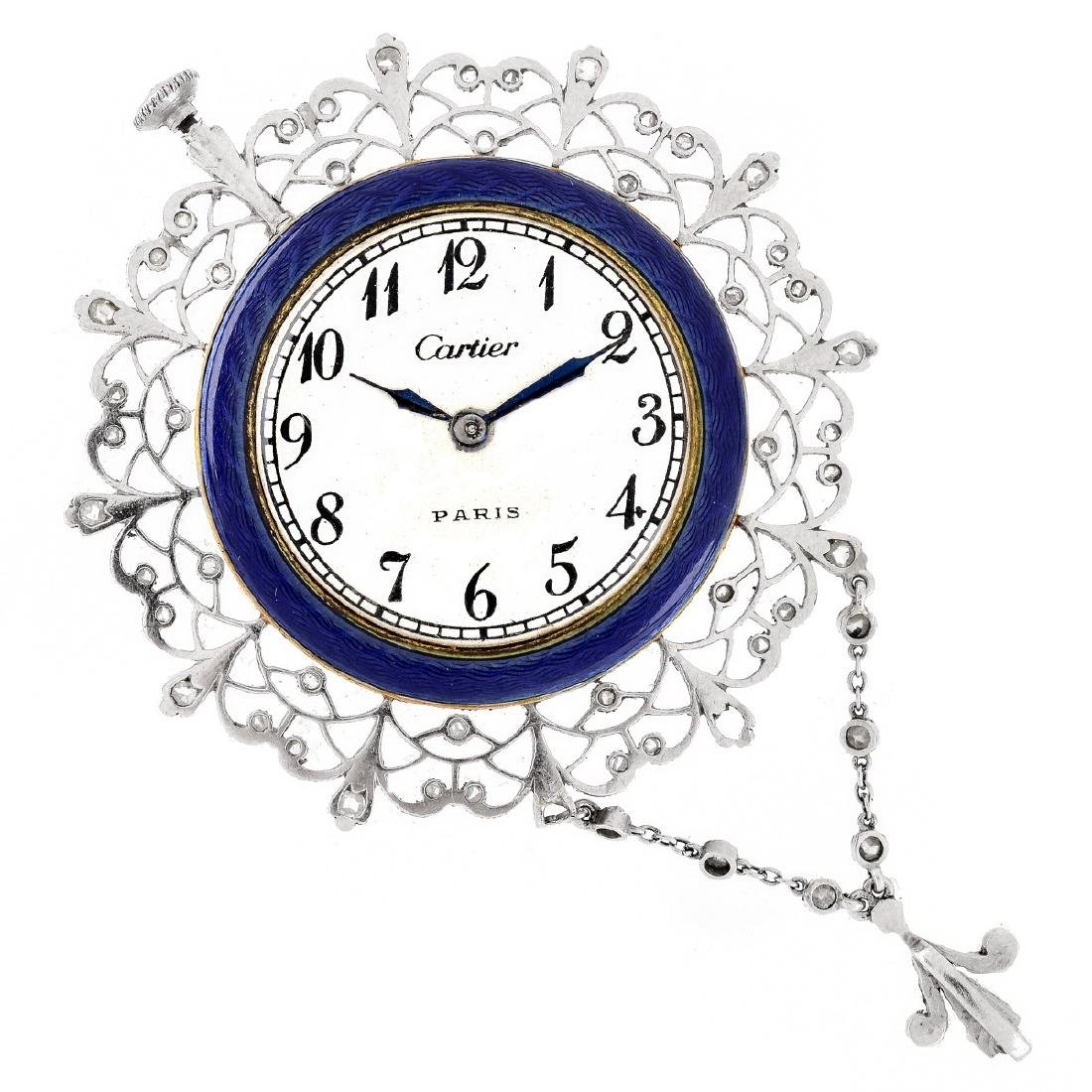Cartier Art Deco Platinum and Enamel Pendant Watch