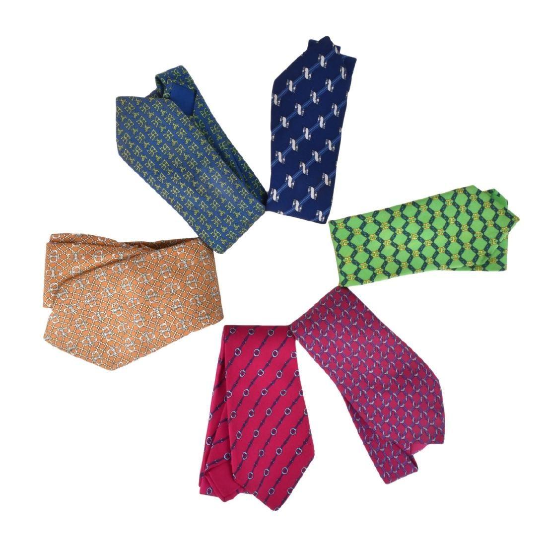 Collection of Six Vintage Mens Hermes Silk Ties