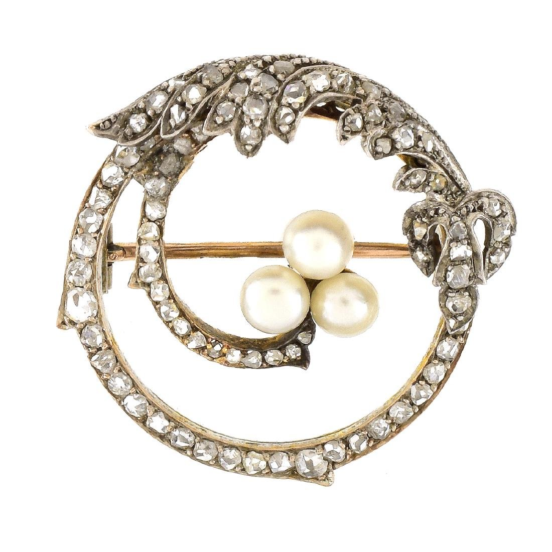 Russian Diamond, 14K Gold and Pearl Brooch