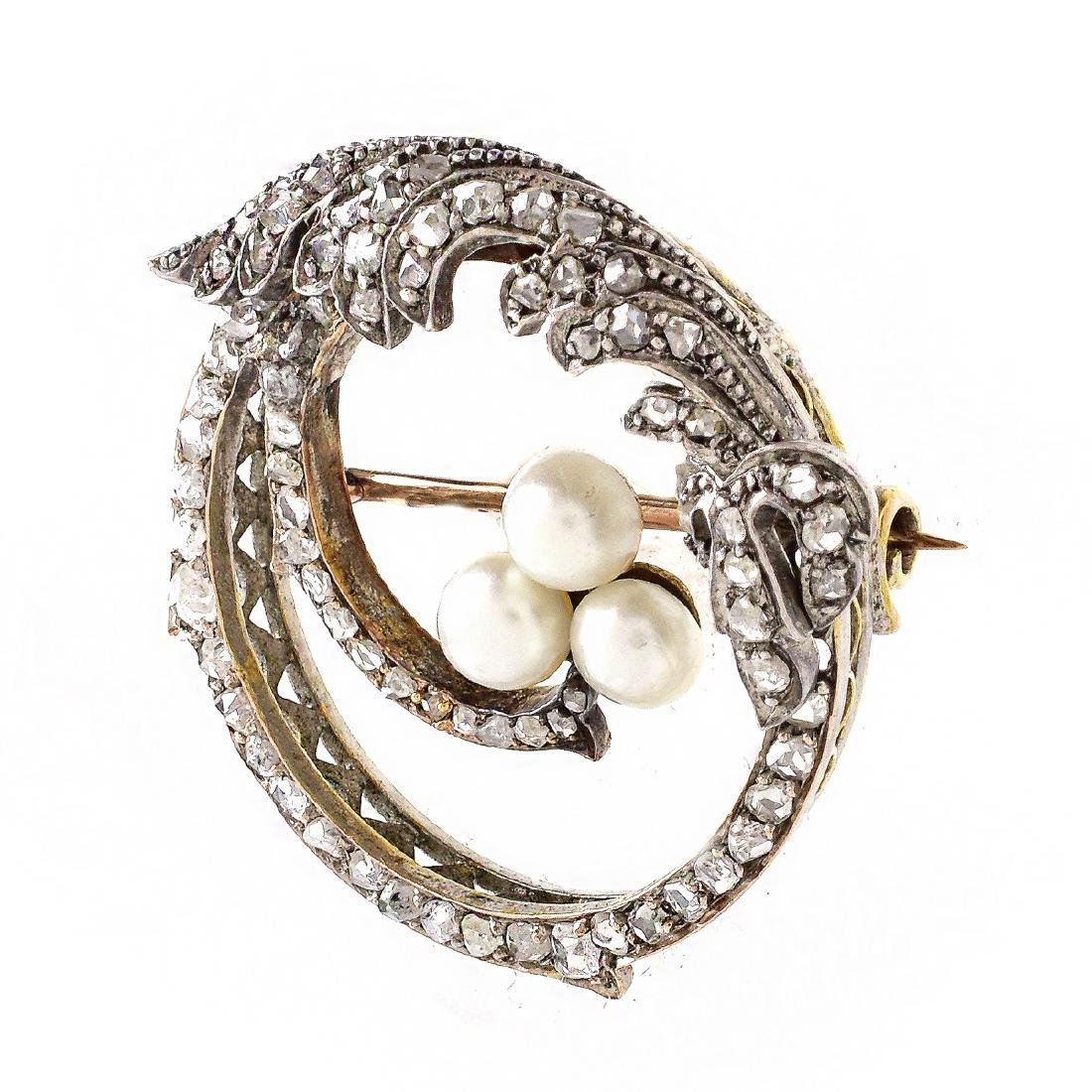 Russian Diamond, 14K Gold and Pearl Brooch - 2
