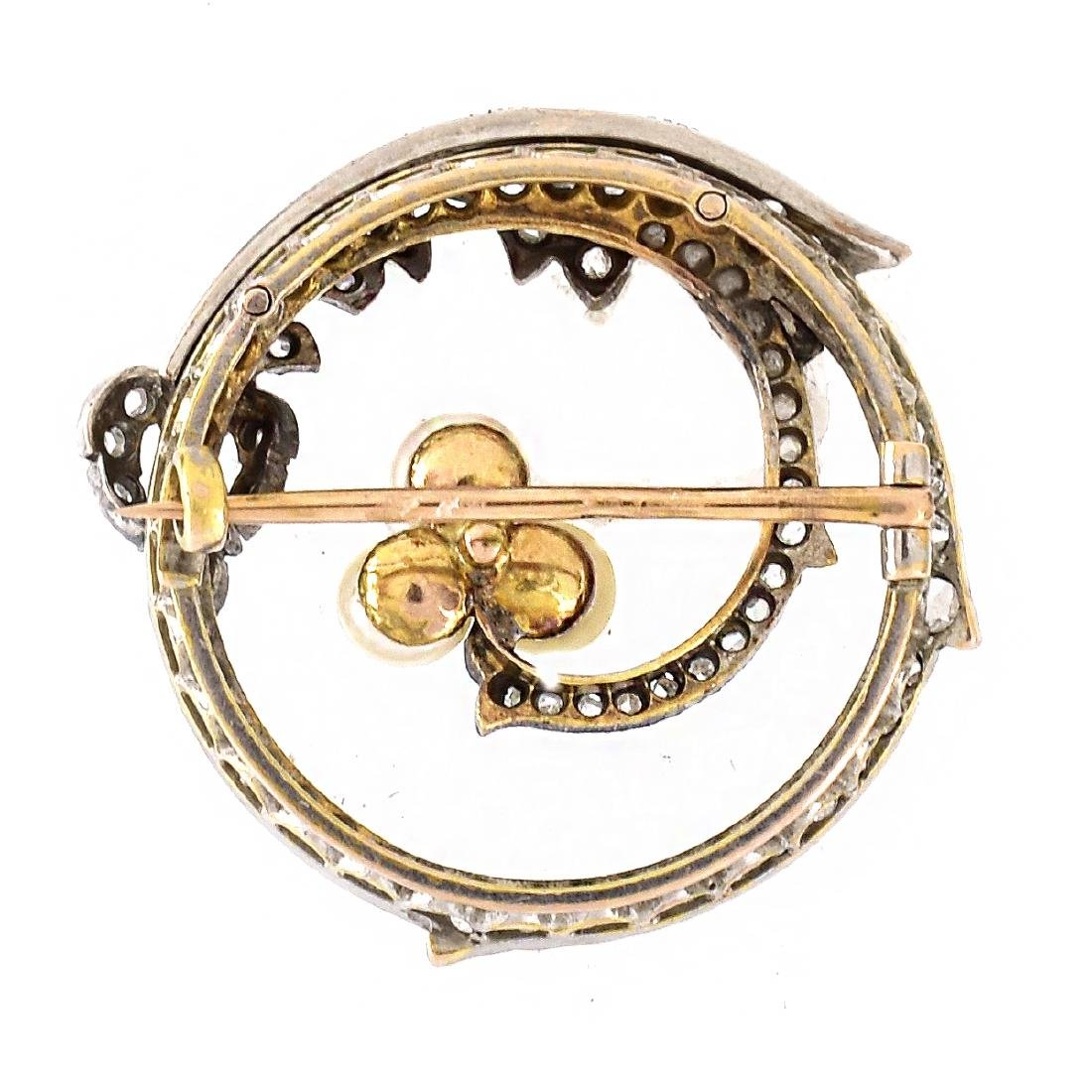Russian Diamond, 14K Gold and Pearl Brooch - 3