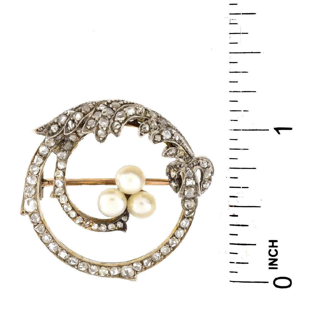 Russian Diamond, 14K Gold and Pearl Brooch - 4