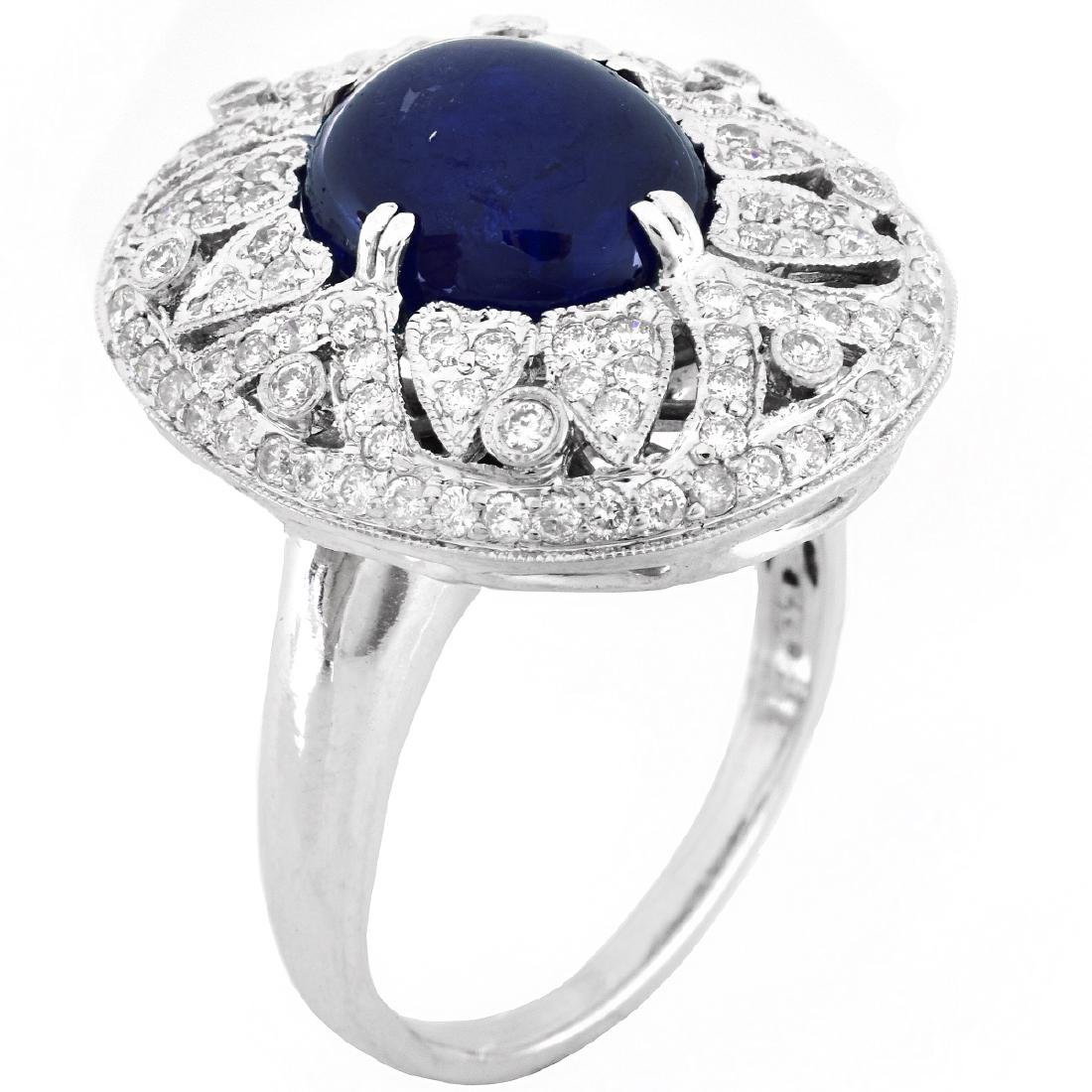 Sapphire, Diamond and 18K Gold Ring