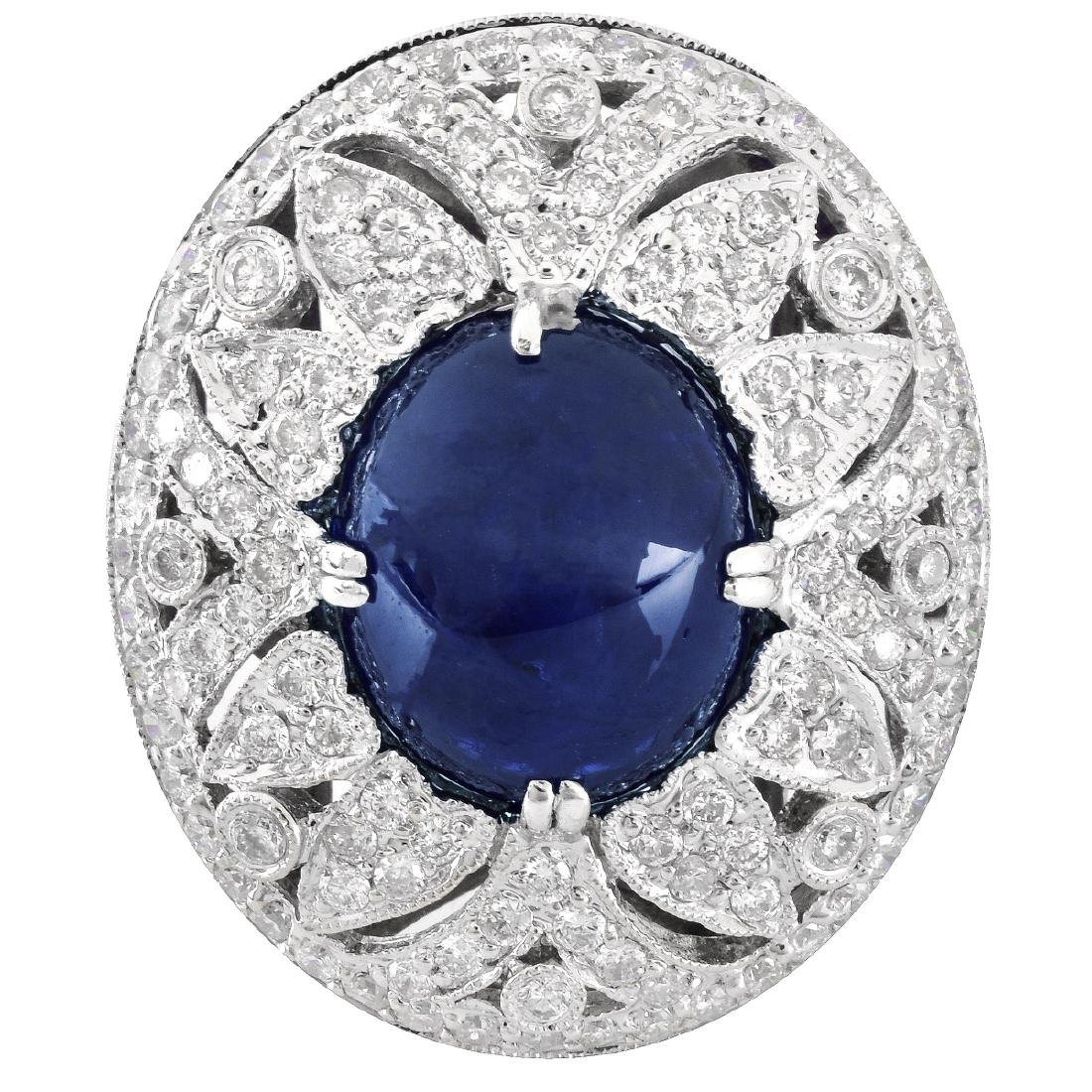 Sapphire, Diamond and 18K Gold Ring - 2