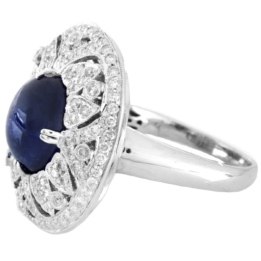 Sapphire, Diamond and 18K Gold Ring - 3