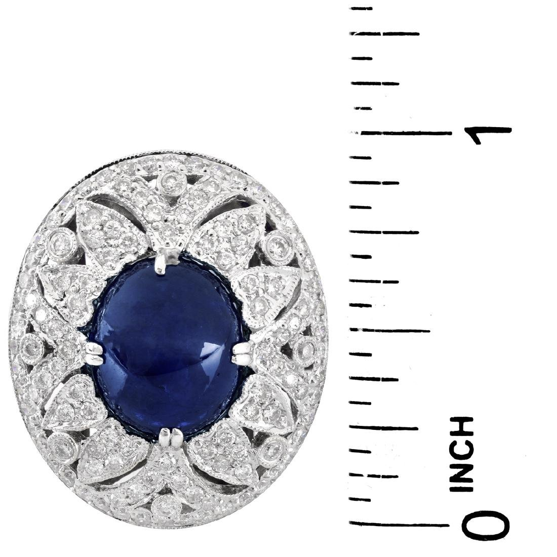 Sapphire, Diamond and 18K Gold Ring - 6