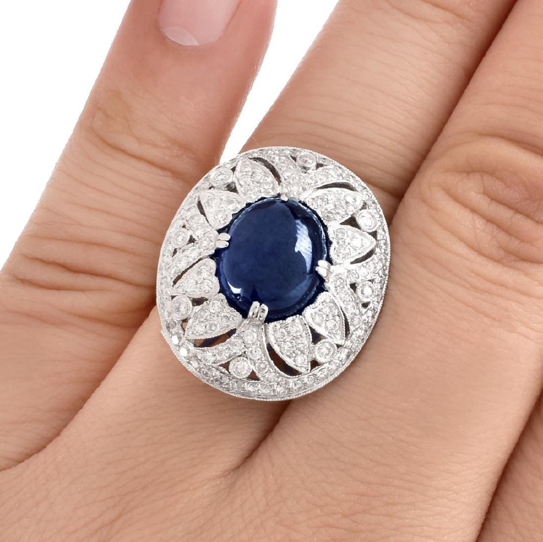 Sapphire, Diamond and 18K Gold Ring - 7