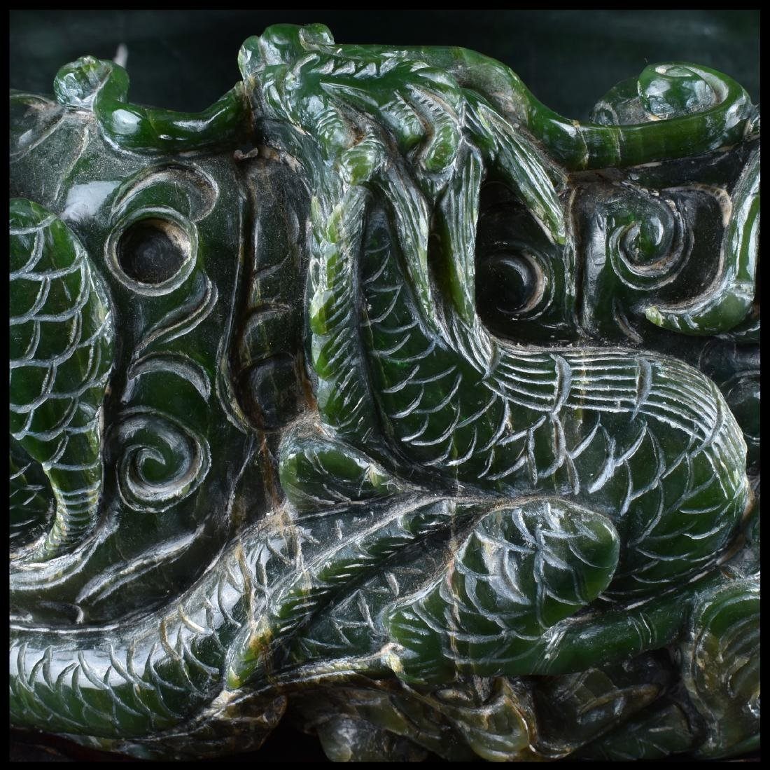 A Chinese Carved Spinach Jade Marriage Bowl - 2