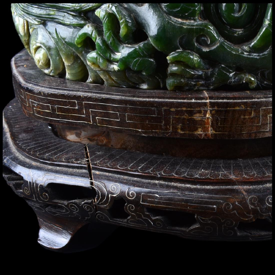 A Chinese Carved Spinach Jade Marriage Bowl - 5
