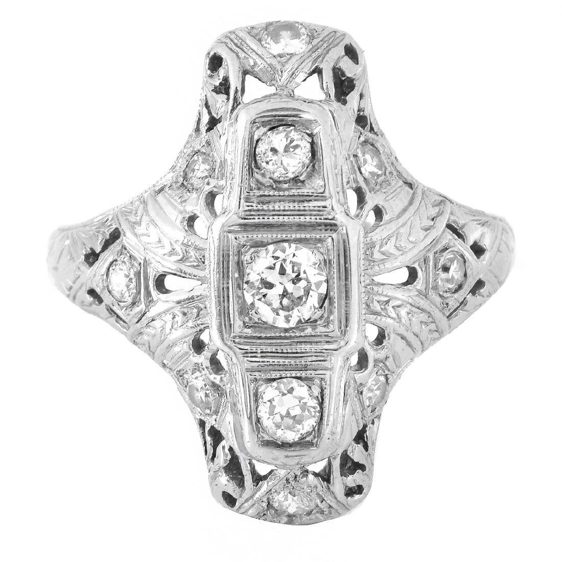 Art Deco Diamond and 18K Gold Ring - 2