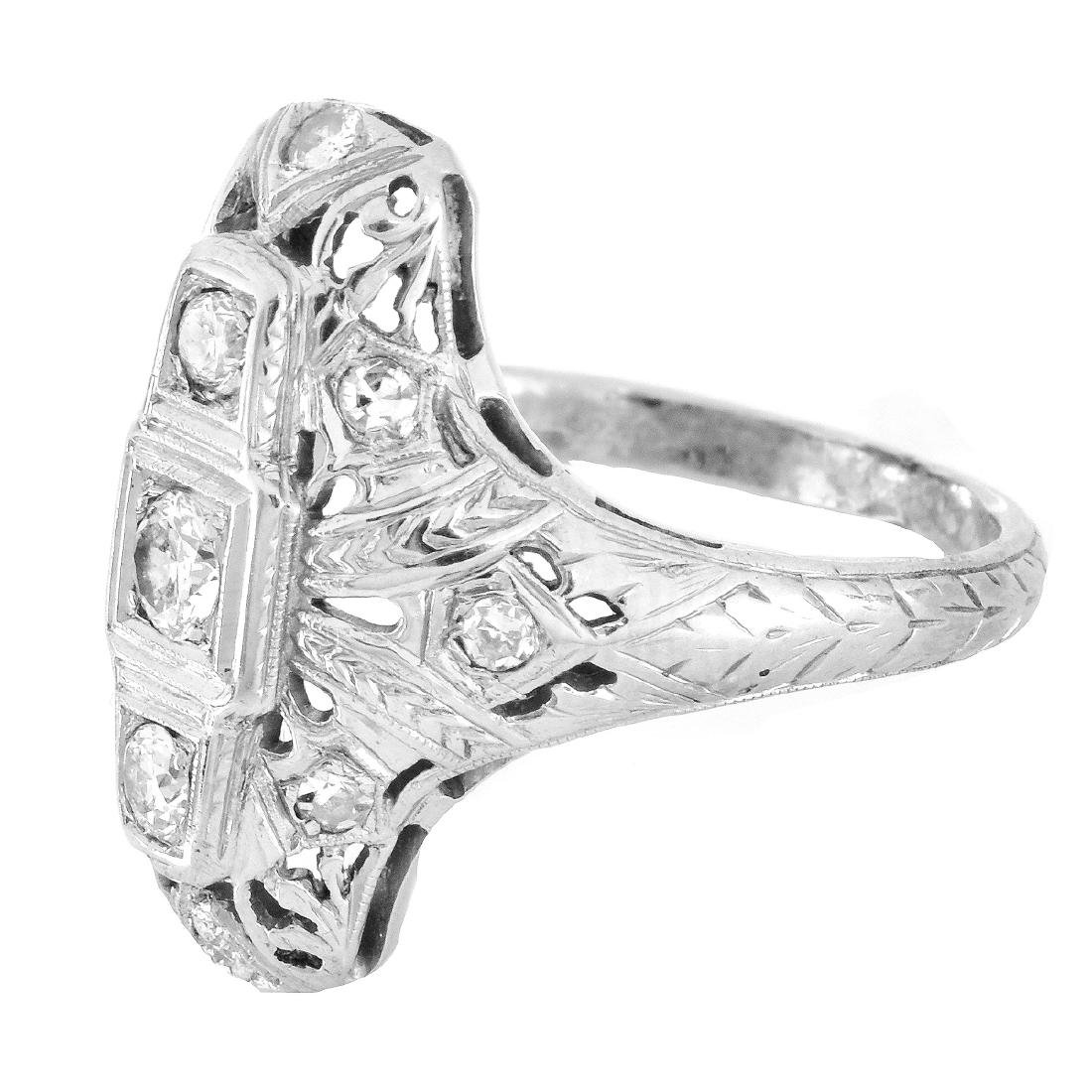 Art Deco Diamond and 18K Gold Ring - 3