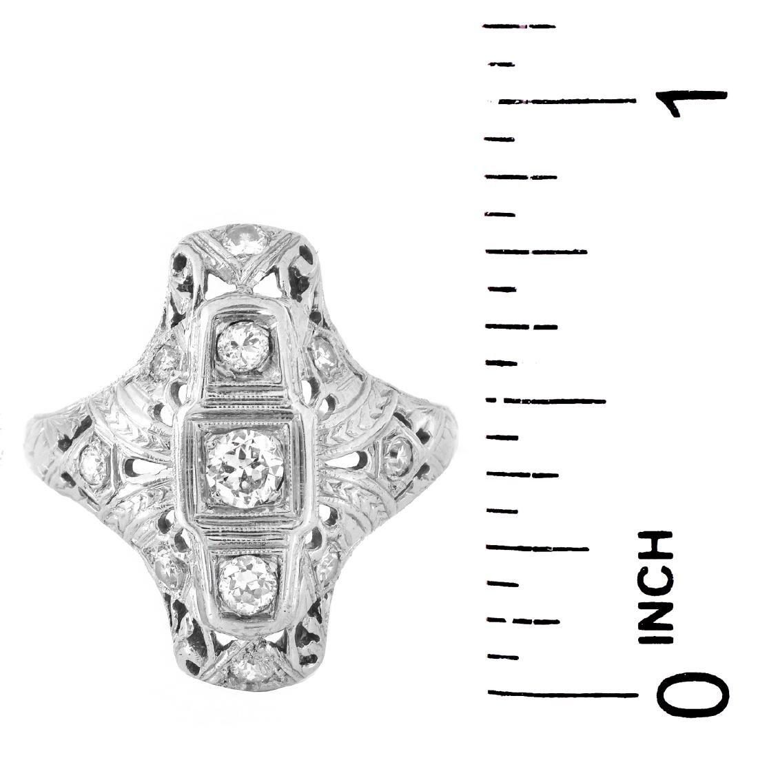 Art Deco Diamond and 18K Gold Ring - 5