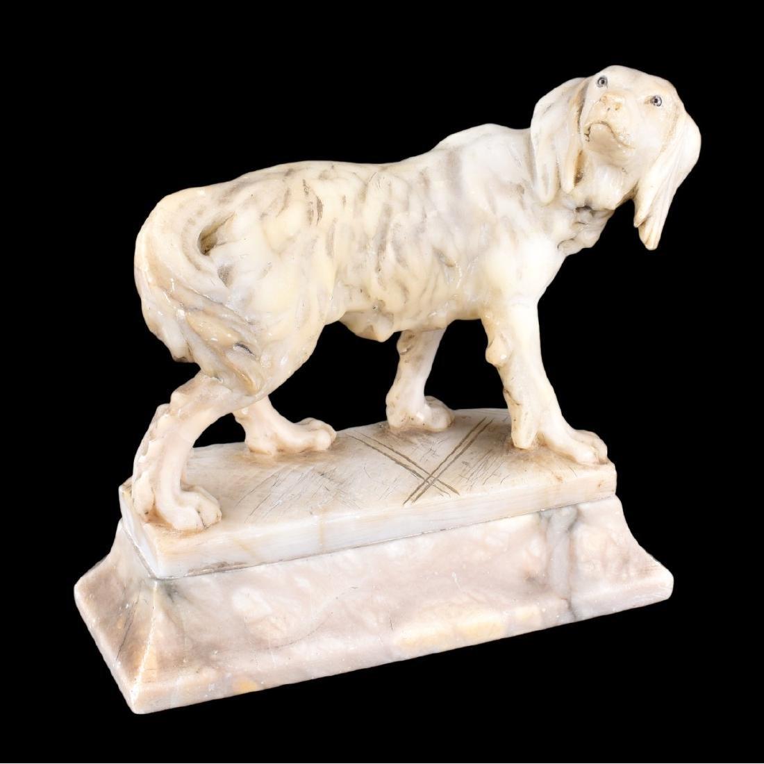 Antique Carved Alabaster Dog Figurine - 2