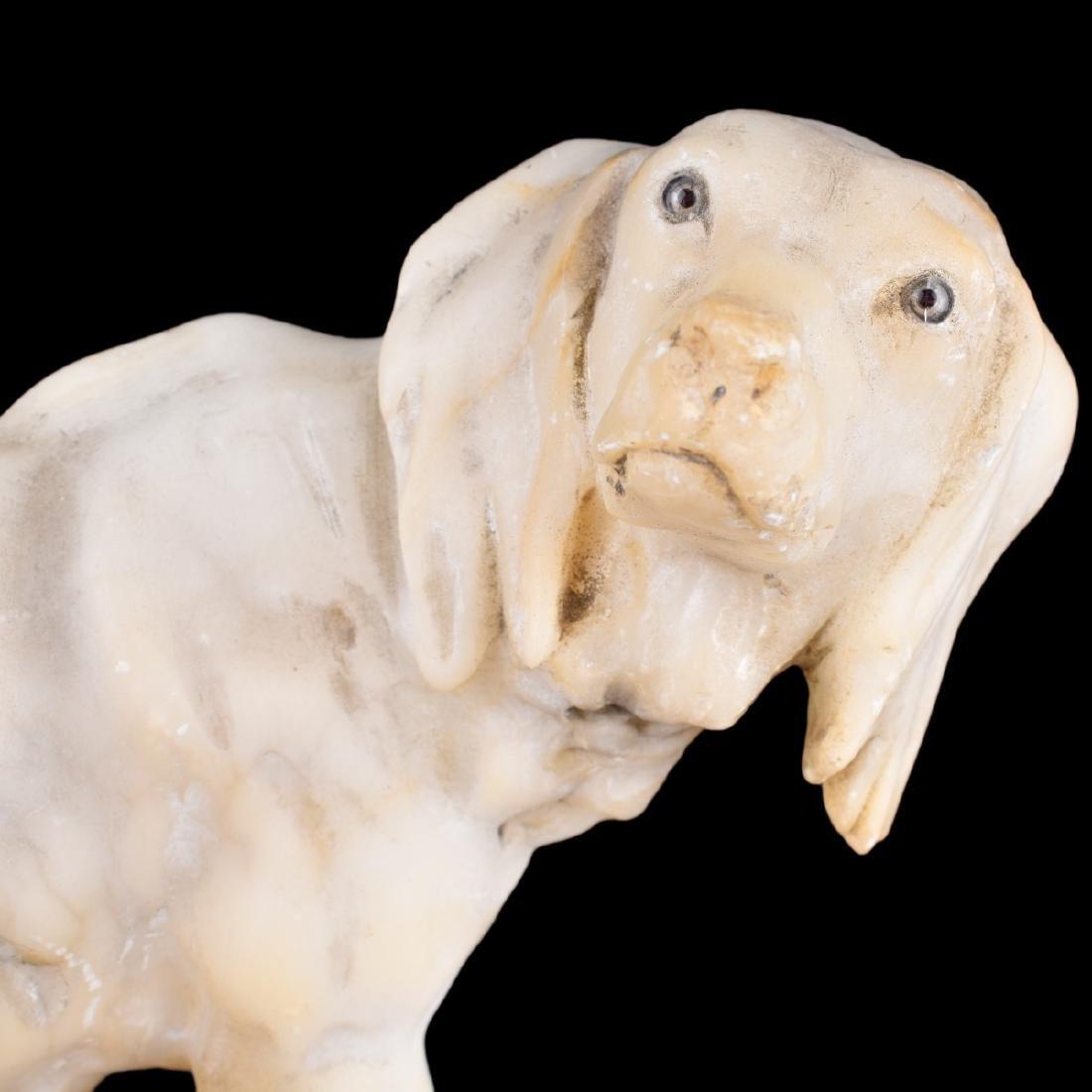 Antique Carved Alabaster Dog Figurine - 5