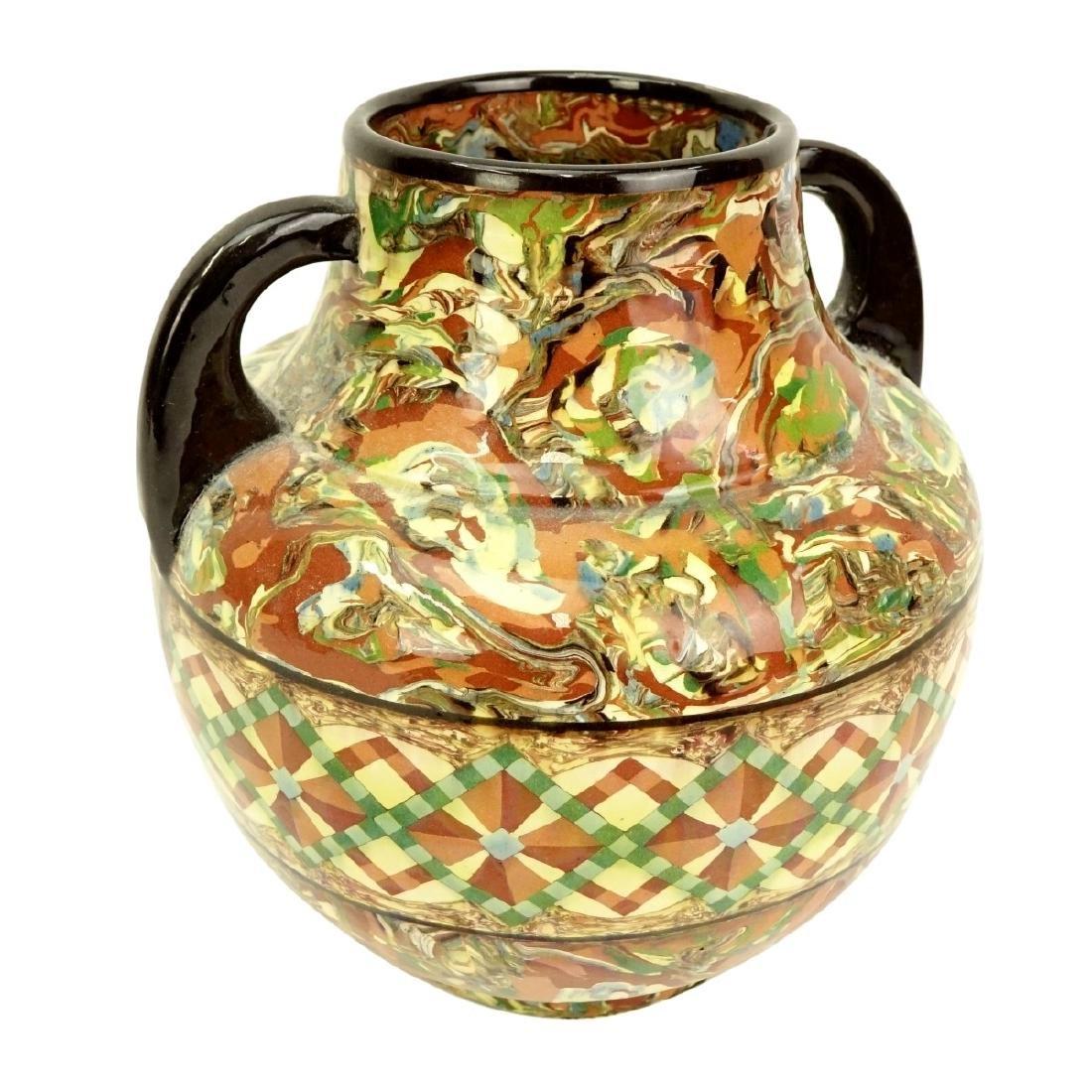 Modern Greek Style Handled Glazed Pottery Jar