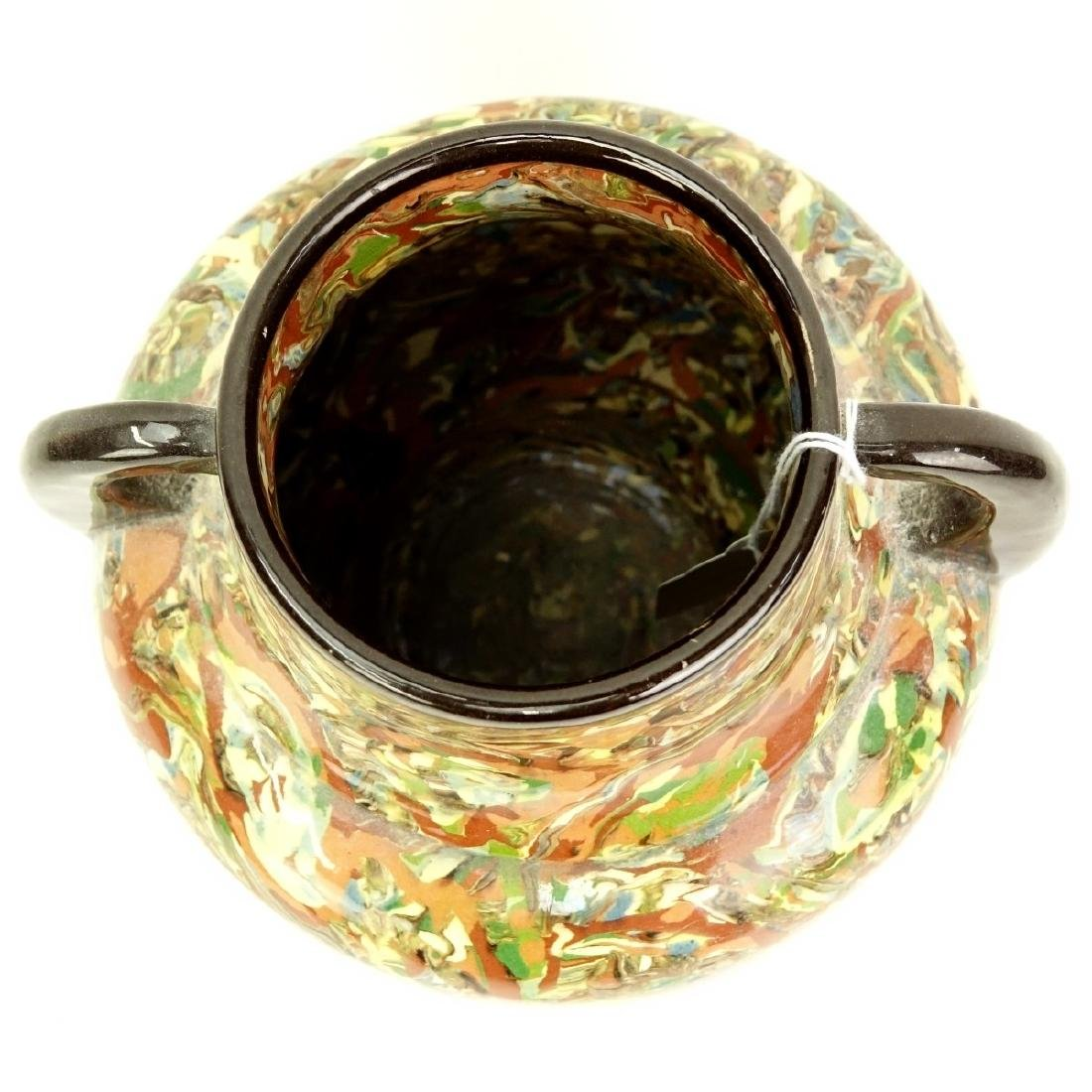 Modern Greek Style Handled Glazed Pottery Jar - 2