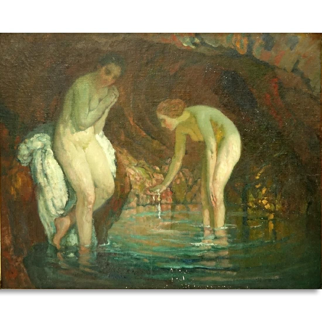 French Pre Raphaelite style O/C, Nudes in Grotto