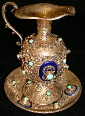 17A: Fine Ornate Austrian Enameled Sterling Silver Ewer