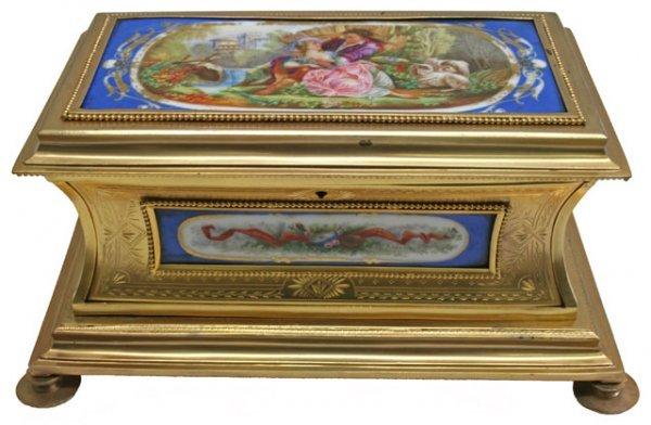 18: 19C Sevres Porcelain Bronze Jewelry Casket. Box Has