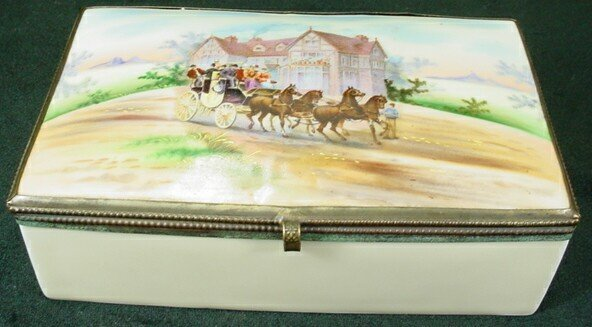 19: Czechoslovakian Porcelain Dresser Box with Coaching