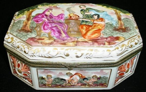 20: French Capodimonte Style Bronze Mounted Lidded Box.