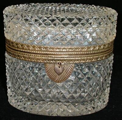 21: Early 20C French Crystal Vanity Box with Bronze Mou