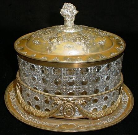 22: MH&C Continental Gilt Metal Cut Crystal Vanity Box