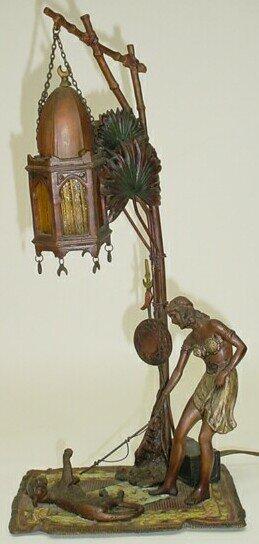 """101: Austrian Vienna Bronze Lamp Sculpture """"Woman Playi"""