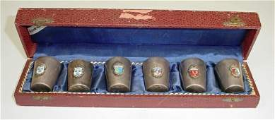 Unusual German WWII Silver Plate Shot Glass Set wi