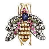 Antique Multi Gemstone and 14K Gold Bug Brooch