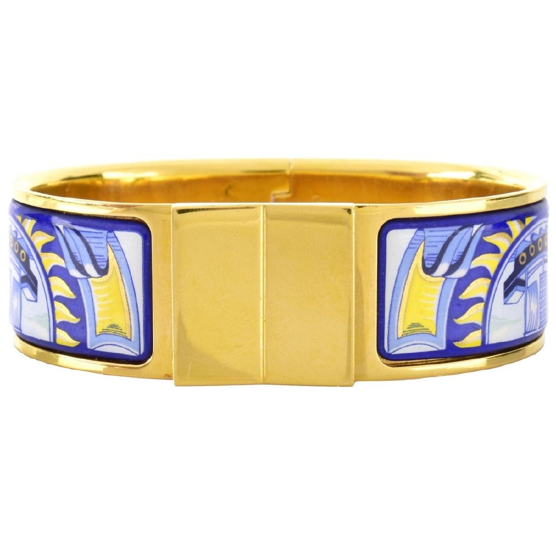 Hermes Gold Plate and Enamel Cuff Bangle