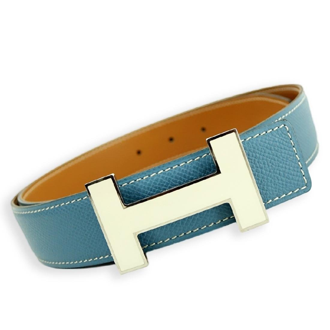 Hermes Blue Jean Epsom Leather Quizz Lacquer Belt