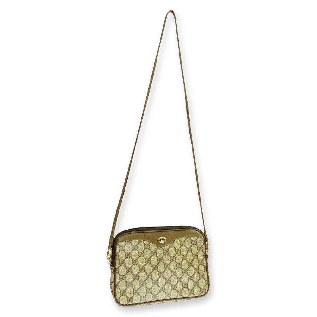 51de43f7225 Gucci Beige Coated Canvas Shoulder Bag