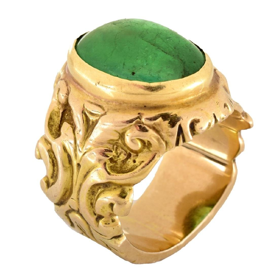 Antique Emerald and 14K Gold Ring