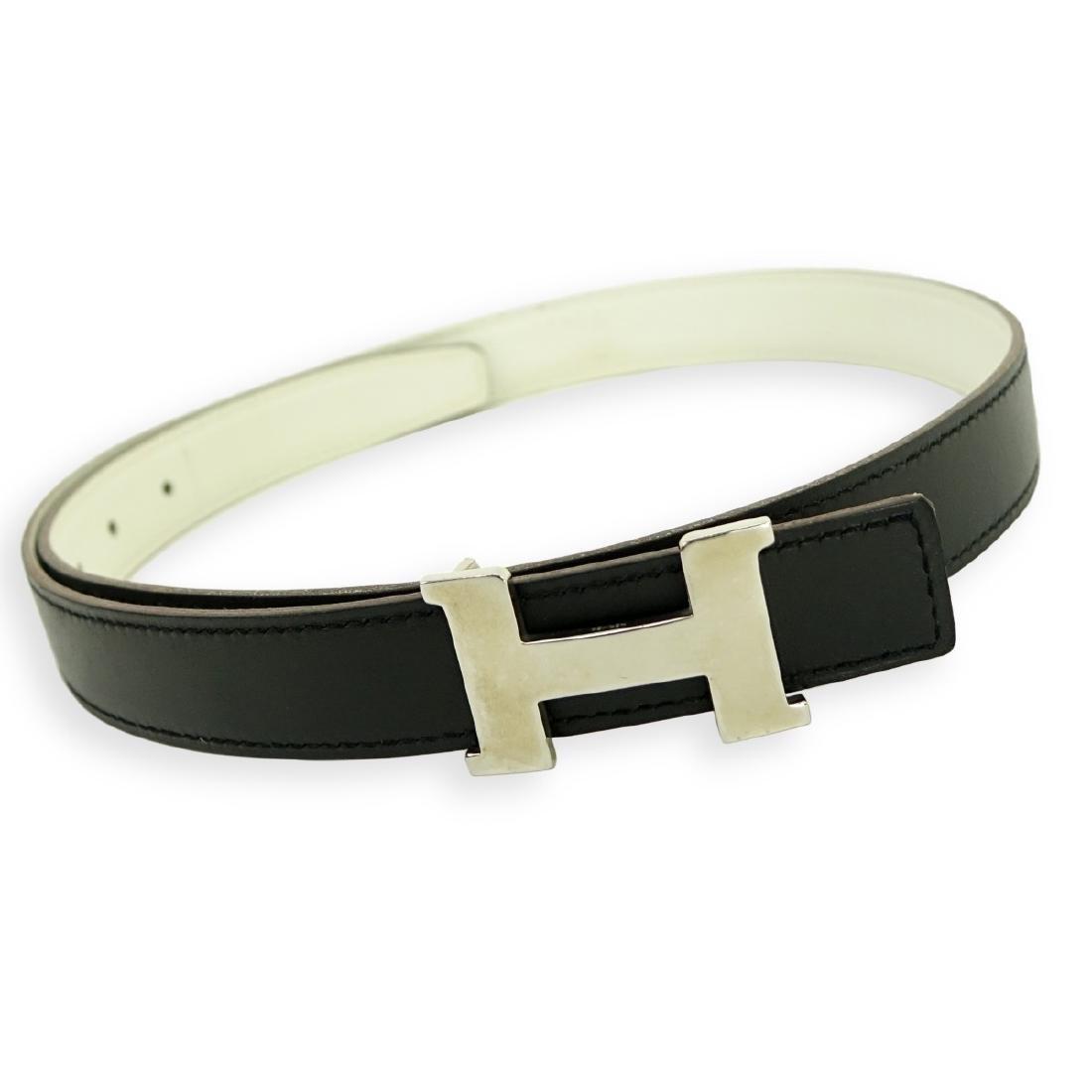 Hermes Black/White Togo Leather H Belt 80