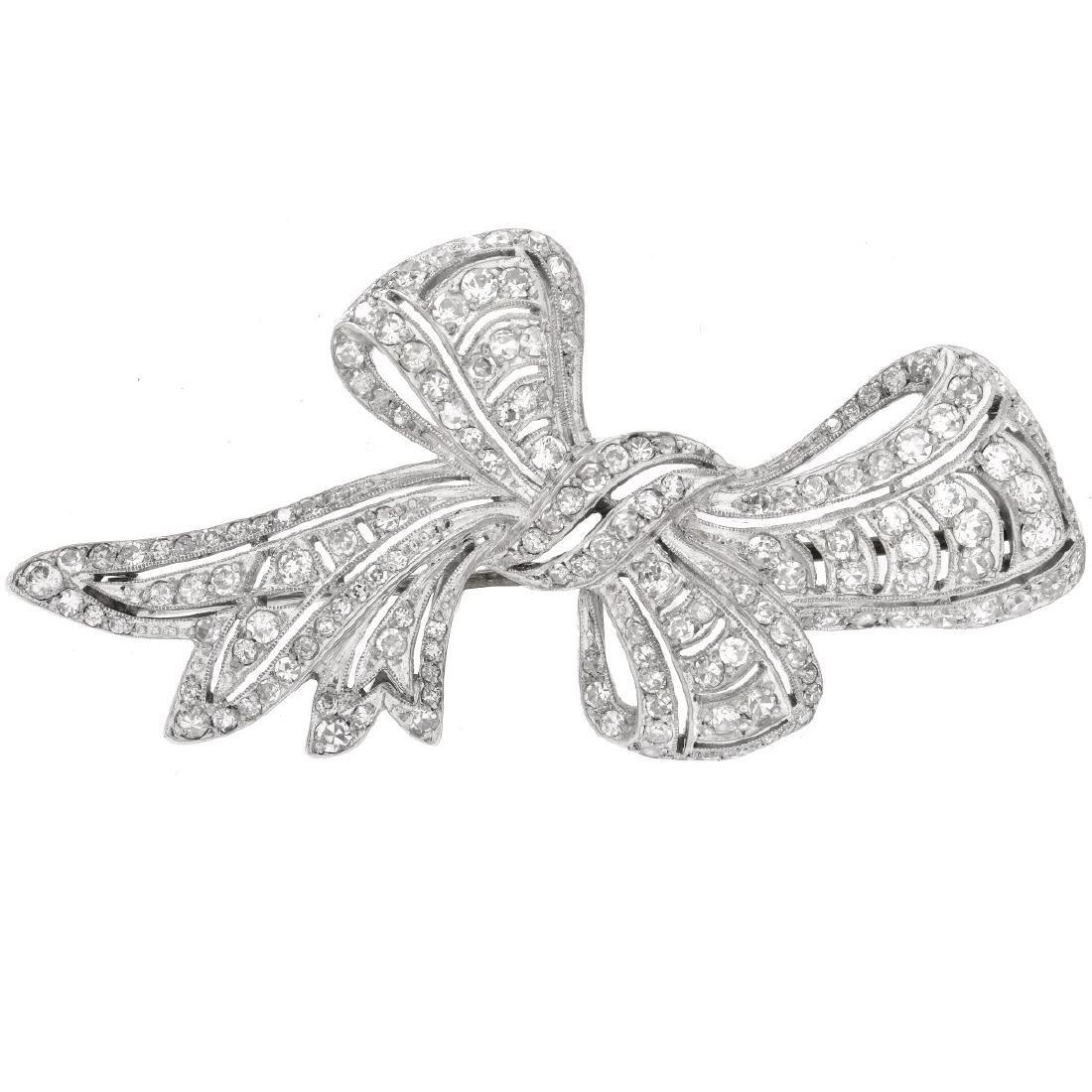 3.5ct Diamond and Platinum Brooch