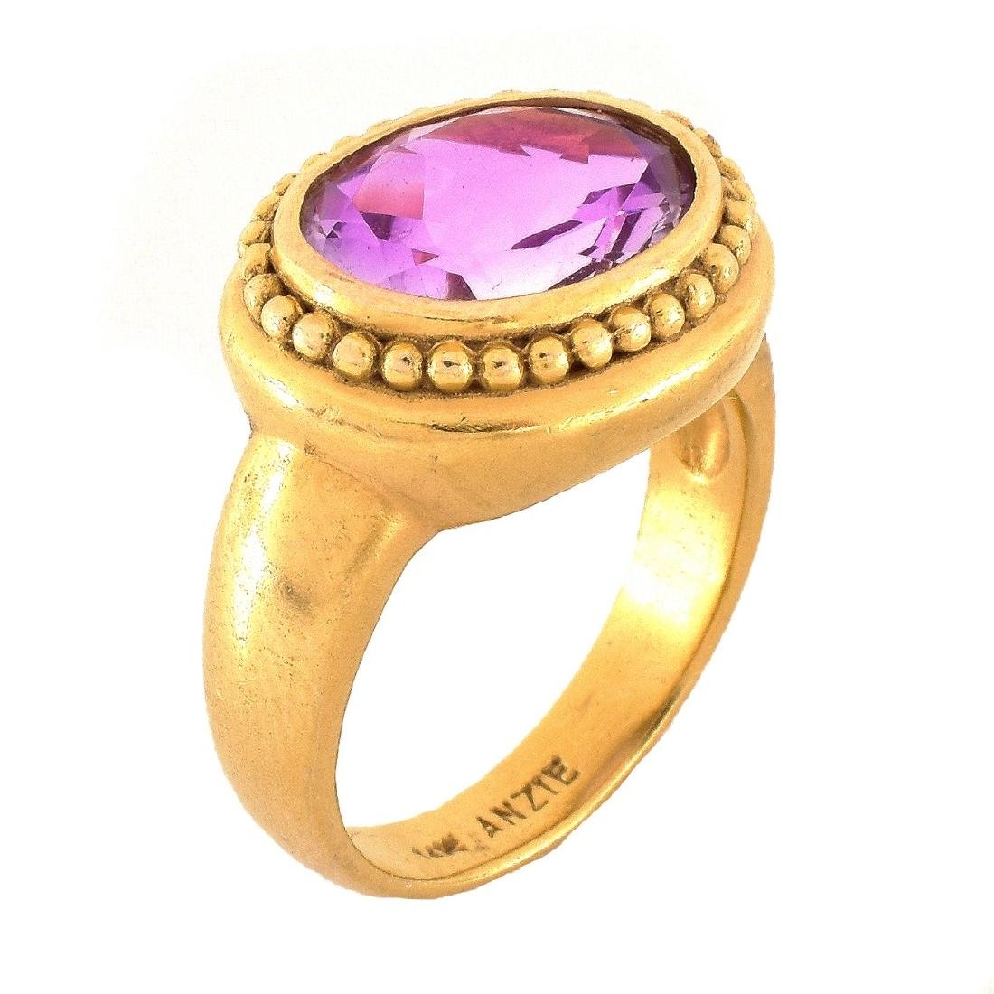 Amethyst and 14K Gold Ring