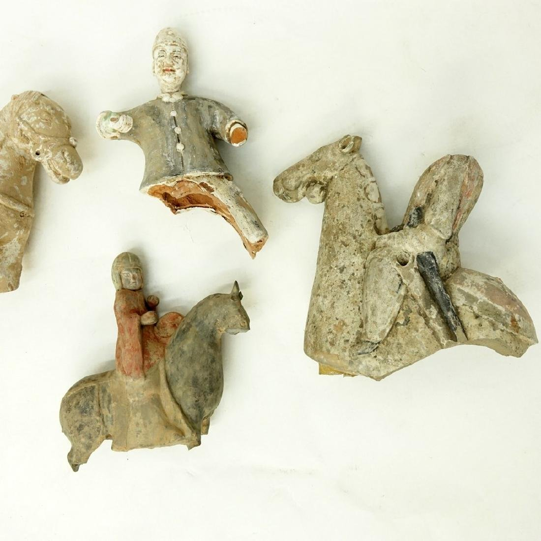 4 AS IS Early Chinese Pottery Tomb Figures - 2