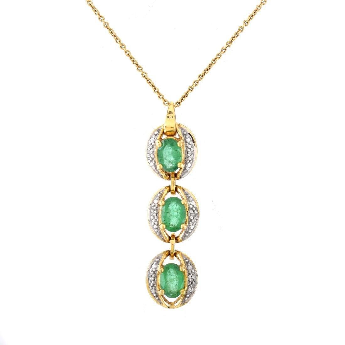 Emerald, Diamond and 18K Gold Pendant Necklace
