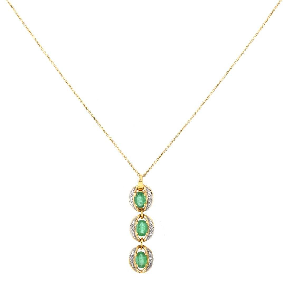 Emerald, Diamond and 18K Gold Pendant Necklace - 2