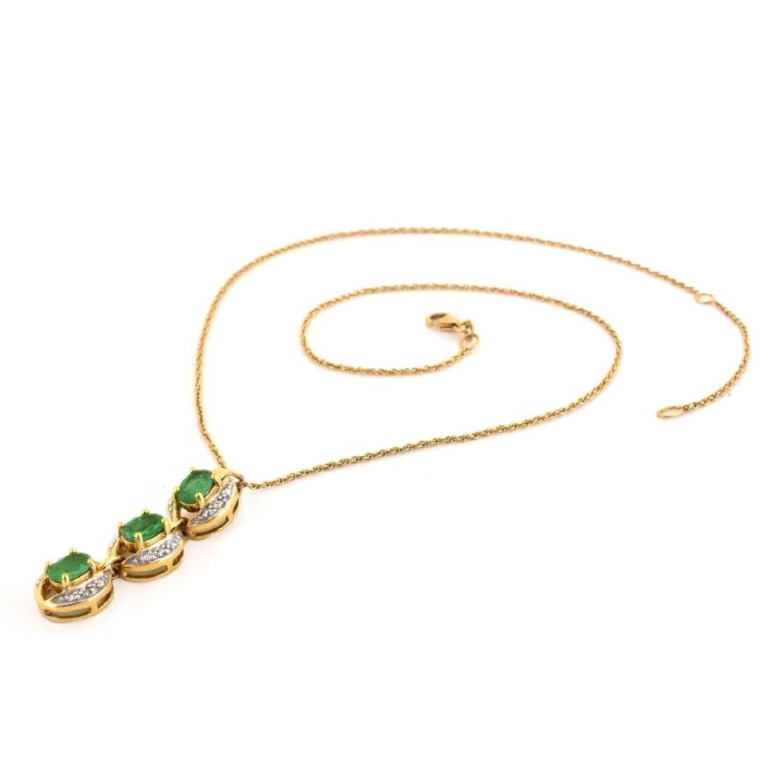 Emerald, Diamond and 18K Gold Pendant Necklace - 3