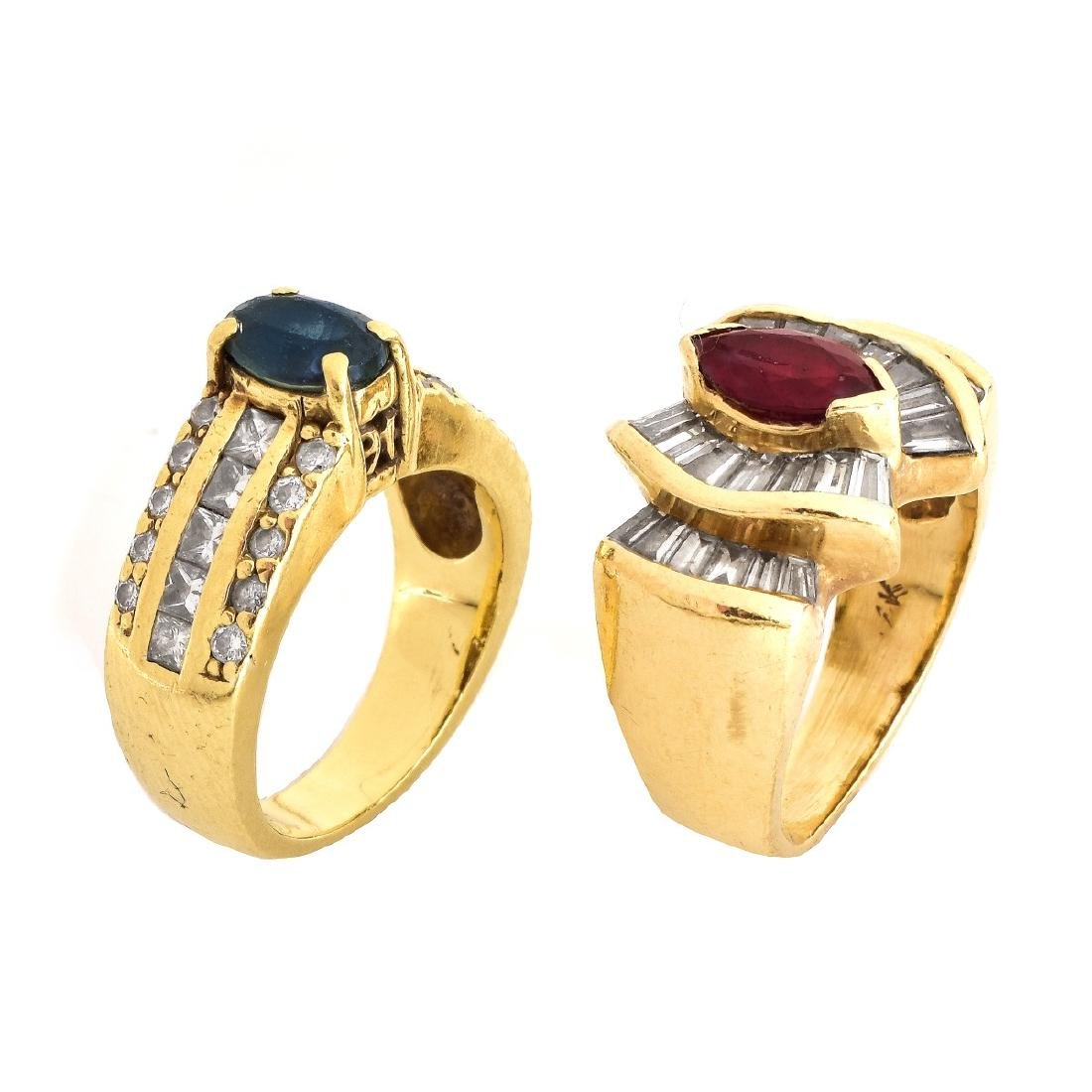 Two Gemstone, Diamond and Gold Rings