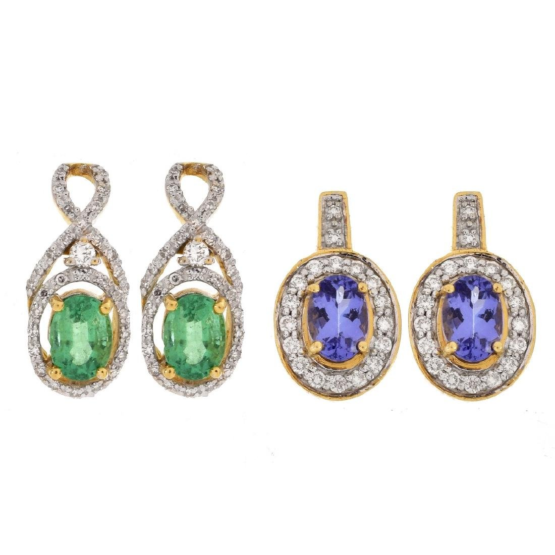 Two Pair Gemstone, Diamond and 18K Gold Earrings