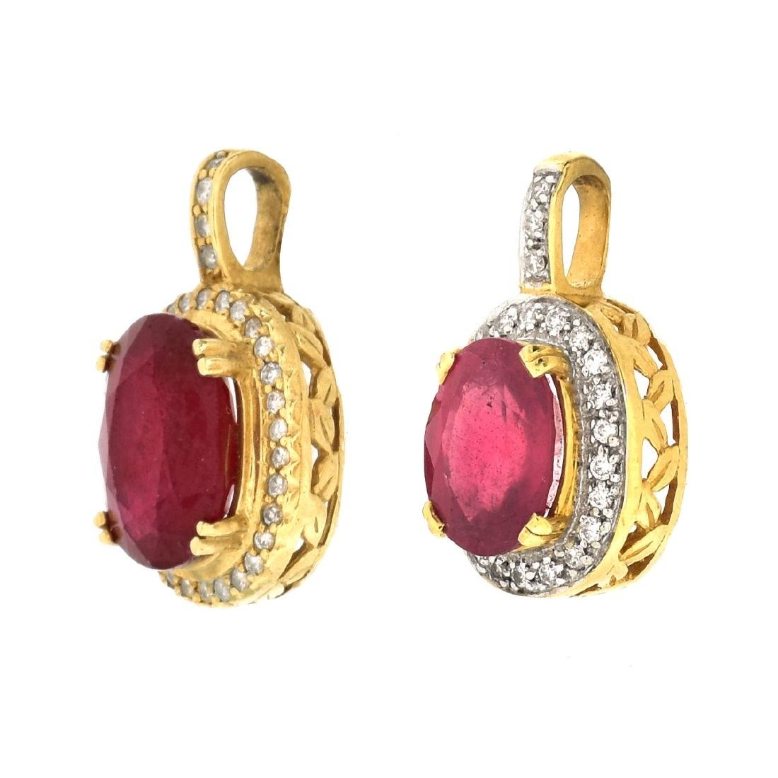 Two Gemstone and Gold Pendants - 2